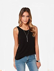 Women's Solid Black/Gray T-shirt/Vest Sleeveless Backless