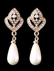 Women's Noble Temperament Rhinestone Pearl Earrings