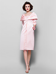 Lanting Sheath/Column Plus Sizes / Petite Mother of the Bride Dress - Pearl Pink Knee-length 3/4 Length Sleeve Lace / Satin