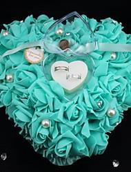 Herzform Rosenblumenperlen-Ring-Box für Hochzeit Kissen (26 * 26 * 13cm) pfauhochzeit