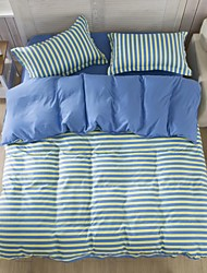 Mingjie Blue and Yellow Stripes Sanding Bedding Sets 4pcs Duvet Cover Sets Bed Linen China Queen Size and Full Size