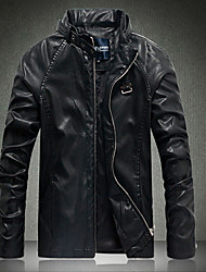 Men's Fashion Han Edition PU Leather Coat