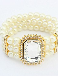 European Style Big Luxury Gem Pearl Elastic Bracelet(More Colors)