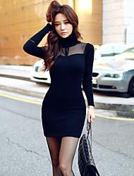 alta pescoço vestido de roupa de malha de mulheres DFN