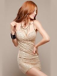 женская ремень мини-платье, блесток / полиэстер черный / бежевый сексуальная / Bodycon