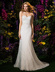 Lanting Bride® A-line / Princess Petite Wedding Dress Wedding Dresses in Color Court Train Sweetheart Lace / Tulle with