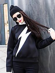 gola redonda relâmpago moda impressão das mulheres camisolas puras