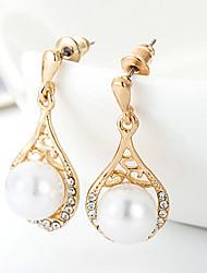 Cute / Casual Gold Plated / Rhinestone Drop Earrings