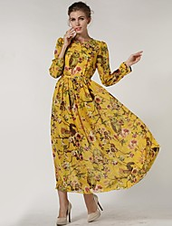 Women's Floral Red/Yellow Dress , Casual/Print/Maxi Crew Neck Long Sleeve