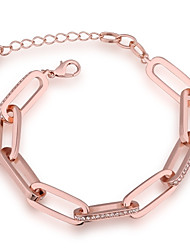 Simple Fashion Women's Rectangle White Rhinestones Rose Gold Plated Tin Alloy Chain & Link Bracelet(Rose Gold)(1Pc)