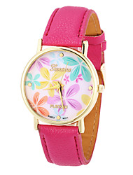Mulan Flower Pattern PU Leather Women Dress Watch(Fuchsia)