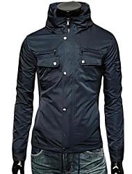 Men  Waterproof Stand Collar Hooded Jacket
