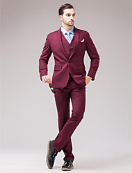 Burgundy Serge Slim Fit Three-Piece Suit