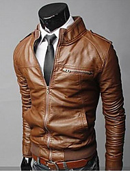 Stand Collar Motorcycle Pu Leather Coat