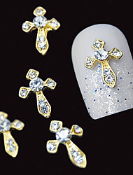 10pcs  Gold Sword 3D Clear Rhinestone DIY Accessories Alloy Nail Art Decoration