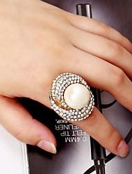 diamant de luxe de la perle des femmes exagérée bague en alliage réglable