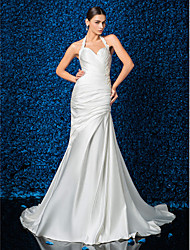 Sheath/Column Wedding Dress - Ivory Court Train Halter Satin