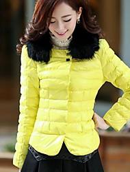 v pescoço cor sólida moda outerwear das mulheres