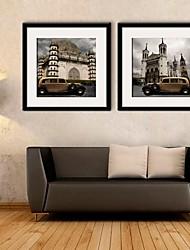 e-HOME arte lienzo enmarcado, la arquitectura de estilo europeo y coches clásicos de ajuste de impresión lienzo enmarcado de 2