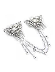 Silver Plated Flower Crystal Pearl Bridal Tiara 2 Hair Slide Comb Pin Women