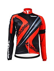 KOOPLUS Unisex Winter Cycling Clothing Long Sleeve Thermal Fleece Cycling Jersey--Black+Red