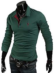 Shirt Gloire col de chemise à manches longues de couleur pleine de bains
