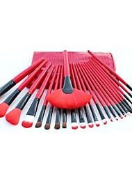 24pcs Professional Cosmetic Facial Make Up Brush Kit Wool Makeup Brushes Tools Set with Red Leather Case