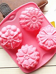 4 Hole Different Flowers Shape Cake Mold Ice Jelly Chocolate Mold,Silicone 15.5×14×3 CM(6.1×5.5×1.2 INCH)