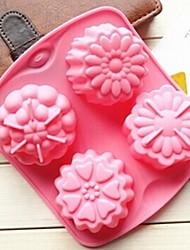 4-Loch verschiedenen Blumen Form Kuchenform Eis Gelee Schokoladenform, Silikon 15,5 x 14 x 3 cm (6,1 × 5,5 × 1,2 Zoll)