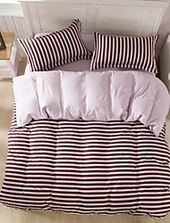 Mingjie  Lines Coffee Sanding Bedding Sets 4pcs Duvet Cover Sets Bed Linen China Queen Size and Full Size