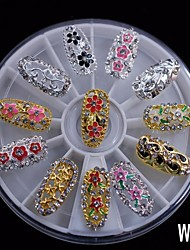 12PCS Fashion Mix Alloy Full Cover  DIY Nail 8CM Wheel Rhinestone Nail Art Decoration