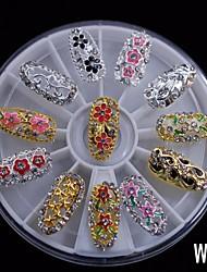 12pcs alliage mode mélange couverture complète bricolage ongles 8cm art strass de la roue de la décoration des ongles