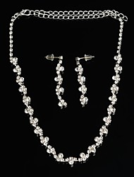 Fashion Flower Crystal Metal Necklace Bridal + Stud Earrings Set