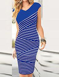 Fashion V rayures du cou de Monta femmes robe