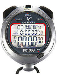 100 Memories 1/100s 3 Line 10h Countdown Time & Calendar Digital Stopwatch for Sports LEAP PC100B