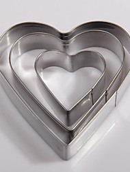 3PC Stainless Steel Heart Shaped Cookies Mould