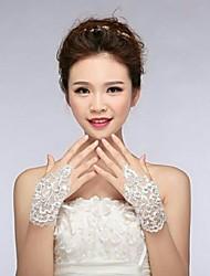 слоновая кость кружева fingless свадебные перчатки asg1