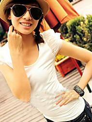 изящные бусы украшен слоеные рукав футболка белый