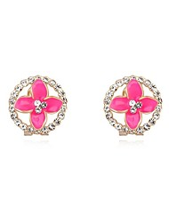 Women's Crystal Pave Circle Floral Alloy Stud Earrings (More Colors)