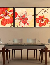 E-HOME® Framed Canvas Art, Flower Framed Canvas Print Set of  3