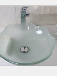 flor em forma de curvatura do dissipador da embarcação vidro temperado com torneira conjunto cromo