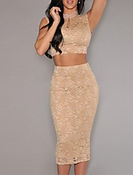 Women's Nude Lace Scoop Back Midi Skirt Set(Shirt & Skirt)