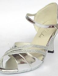 Prata couro personalizadas clássico das mulheres E Glitter superior Salsa Latina dança sapatos