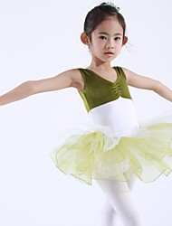 Kids' Dancewear Tops / Dresses&Skirts / Tutus Children's Chiffon / Spandex / Velvet Sleeveless 110:50,120:53,130:56,140:59,150:61