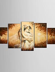Ручная роспись Люди 5 панелей Холст Hang-роспись маслом For Украшение дома