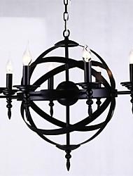 fer lumière pendante 8 lumières style campagnard forgé