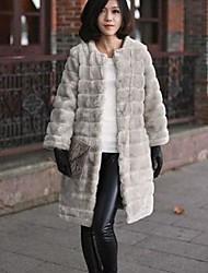 Fur Coats Fashion Long Sleeve Collarless Faux Fur Coat