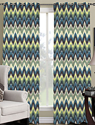 Two Panels Neoclassical / Designer Stripe Multi-color Bedroom Polyester Panel Curtains Drapes