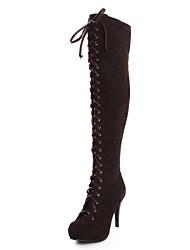 Calçados Femininos - Botas - Arrendondado / Botas da Moda - Salto Agulha - Preto / Marrom - Couro Sintético - Social
