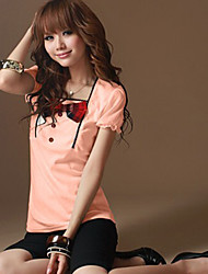 New Style Fashion Style Bowknot Embellished T-shirt Pink